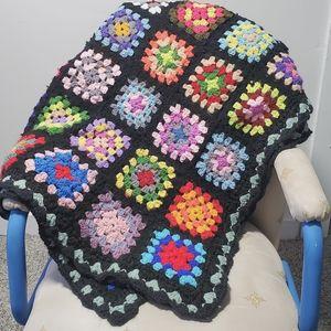 Vintage Crochet Afghan Throw Blanket Granny Square